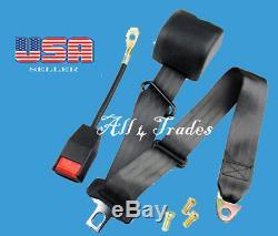 1 Kit of 3 Point Universal Strap Retractable & Adjustable Safety Seat Belt Black