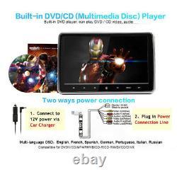 10.1 HD 1080P TFT Headrest DVD Player Car Back Seat Entertainment Monitor Kit