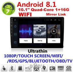 10.1 Ultra Thin Android 8.1 2Din Quad-Core 1+16G Car Stereo Radio GPS Wifi RDS