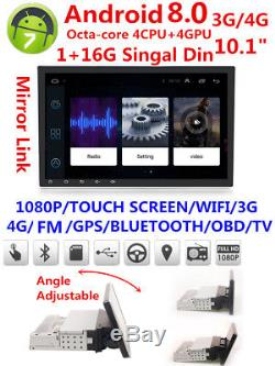 10.1HD Singal Din Android 8.0 Car Stereo Radio GPS Wifi 3G/4G 8-Core MP5 Player