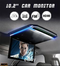 1080P 10.2 Car Roof Mount Flip Down Monitor Overhead Multimedia Video FM HDMI