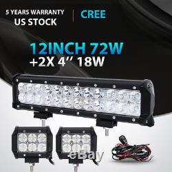 12inch 72W+4 18W LED Light Bar Work SPOT FLOOD CREE 4WD CAR ATV+ Wiring Kit 14