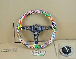 14 Wood Grip Mirror Chrome S/S Spoke Steering Wheel White Skull Graffiti