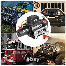 15500Ibs Electric Winch 12V 93.5FT Steel Rope 4WD ATV UTV Winch Towing Truck