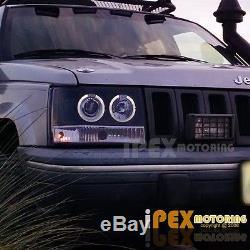 1993 1996 Jeep Grand Cherokee ZJ Halo Projector LED Headlight Signal Light  Black