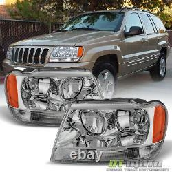 1999-2004 Jeep Grand Cherokee Headlights Headlamps Replacement 99-04 Left+Right