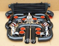 2.5' Black/red Intercooler Piping Kit Coupler Clamps Turbocharger Supercharger