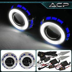 2.5 Dual Halo Angel Eye Retrofit Bi Xenon Projector Lamp Kit Replacement