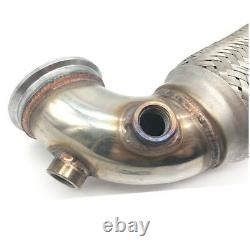 2.5 V-Band Flanged Downpipe Low Profile 90 Degree with Flex Bellow Pipe Stainless