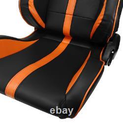 2 ×Black/Orange Strip PVC Leather Left/Right Racing Bucket Seats Adjustor Slider