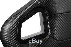 2× PVC Mian Black Carbon Fiber Style Leather Left/Right Racing Seats Slider Pair