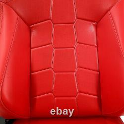 2 × Universal All Red PVC Leather Sport Racing Bucket Seats Left/Right Pair