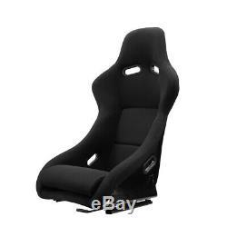 2 × Universal Black Left/Right Fabric Fabric Racing Bucket Seats+Slider Pair