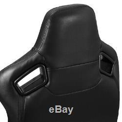 2 ×Universal PVC Main Black PVC Stitching Leather Racing Seats Slider Pair