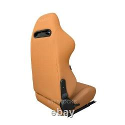 2 X Tanaka Tan Pvc Leather Racing Seats Reclinable + Sliders Fits For Jeep