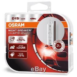 2 x D1S OSRAM Xenarc Night Breaker Unlimited +70% Light Xenon HID Car Bulb -TWIN