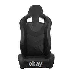 2 x Reclinable Black PVC Punching Leather Left/Right Racing Seats + Slider Pair