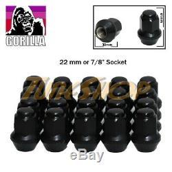 20 Gorilla Ex Large Seat Factory Stock Wheels Lug Nuts 14x1.5 Acorn Rims Black