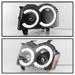 2005-2007 Jeep Grand Cherokee Black LED Tube DRL Projector Headlights Headlamps