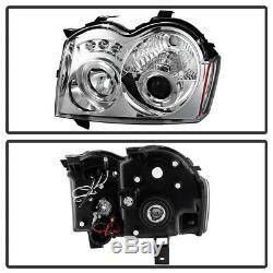 2005-2007 Jeep Grand Cherokee LED Halo Projector Headlights Headlamps Left+Right