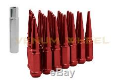 20pc Red Spike Lug Nuts 1/2x20 With Locking Key Fits 1995-2014 Ford Mustang