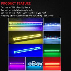 22 LED Light Bar + 2x 3 CREE Cube Pods with RGB Halo Color Change Chasing SUV