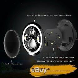 2X 7INCH 280W LED Headlight Hi/Lo Beam Halo Ring DRL For Jeep Wrangler CJ JK