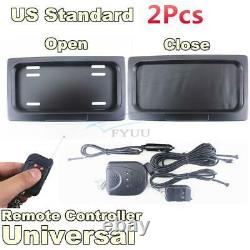 2X US Shutter Electric Swap Shift Turn Blinds Stealth License Plate Frame+Remote