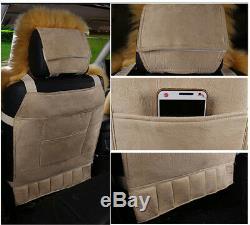 2pc Black Genuine Australian Sheepskin Fur Long Wool Car Front Seat Cover Winter