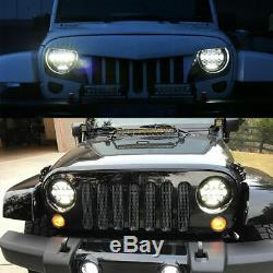 2x 7 Inch LED Headlight Hi/Lo Beam DRL For Jeep Wrangler JK TJ LJ 97-17 Rubicon