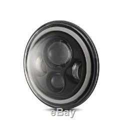 2x 7 Inch Round LED Headlights Halo Angle Eyes For Jeep Wrangler JK LJ TJ CJ