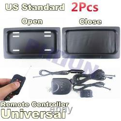2x Remote USA Auto License Plate Frame Roller Curtain Shutter Blinds Decoration