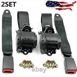 2x Retractable 3 Point Safety Seat Belt Straps Car Vehicle Adjustable Belt Kit