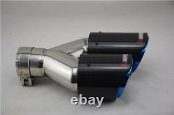 2xGlossy Carbon Fiber Car SUV Dual Exhaust Pipe Tail Muffler Tip Chrome Blue L+R