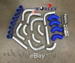 3 INCH 76mm Aluminum Universal Intercooler Turbo Piping pipe & BLUE hose kits