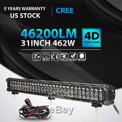 31inch 462w Cree Led Light Bar Spot Flood Offroad Driving 4wd Car Tractor 32