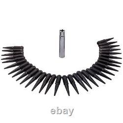 32 x Black Solid Spike Lug Nut M14x1.5 4.5 with1 Key For Ford Chevrolet Ram GMC