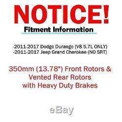 350mm Front + Rear DRILLED Vented Rotor Pad for 2011-2017 Durango Grand Cherokee