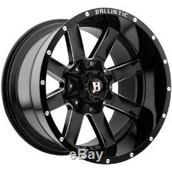 4-20 Inch Ballistic 959 Rage 20x10 5x5/5x5.5 -19mm Black/Milled Wheels Rims