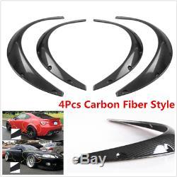 4 Pcs Car Body Exterior Fenders Flares Flexible Polyurethane Carbon Fiber Style