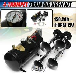 4 Trumpet 150DB Truck Train Air Horn + 100PSI Compressor Tank Gauge Hose US NEW