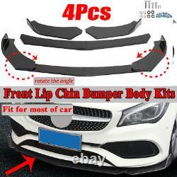 4PCS Carbon Fiber Look Front Bumper Lip Body Kit Splitter Spoiler For Universal