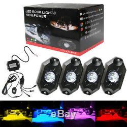 4x Wireless Mini Bluetooth LED RGB Rock Lights Under Wheel for Off-roads Truck