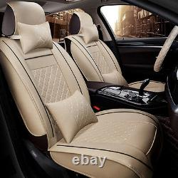 5-Seats Deluxe PU leather Car Seat Cover Full Front+Rear Cushion WithPillow Size M