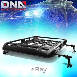 50x 38aluminum Roof Rack Suv Top Cargo Baggage Carrier Basket+crossbar Black