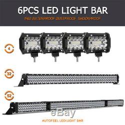 52 INCH 3375W + 32 + 4 Pods CREE LED Light Bar Spot Flood Offroad Driving SUV