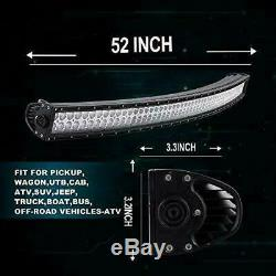 52inch Curved LED Light Bar Combo+32''+4× 4inch Work Lamp Offroad Truck SUV