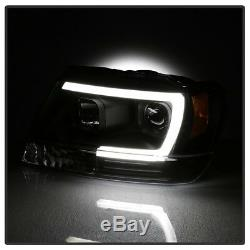 55W HID Built-In 99-04 Grand Cherokee WJ Neon Tube LED DRL Projector Headlight