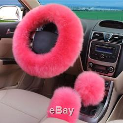 5Pcs/Set Pink Fur Fluffy Thick Car Steering Wheel Cover2 Front Car Seat Cover