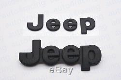 5pcs 2014-2018 Jeep Grand Cherokee Matte Black Replacement Nameplate Emblem OEM